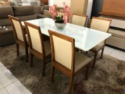 Título do anúncio: Mesa Nova York retangular de 6 cadeiras de madeira maciça