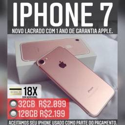 iPhone 7 128gb novo lacrado com 1 ano de garantia Apple.