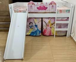 Cama Infantil Princesas Disney Play Com Escorregador