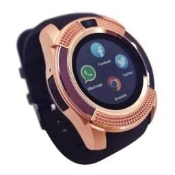 Relógio Dourado Design Fino e Tecnológico V8 com Câmera Função Celular