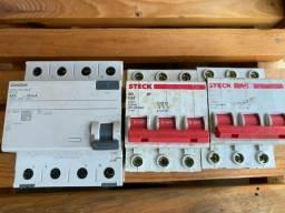 Disjuntores, contactoras e relé termico