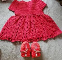 Conjunto vestido e sapatinho bebê 6 a 9 meses