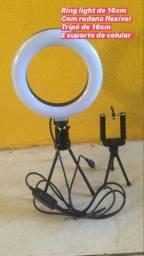 Ring light 16,26 e 36cm com tripé de 1,80cm