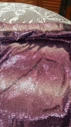 Saia em micro paetes lilás degrade