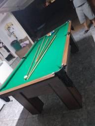 Mesa Charme de Bilhar Cor Imbuia Tecido Verde Mod. GXQW0666