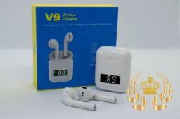Fone  Bluetooth V9/ i99 TWS smart sincronização e painel de bateria lançamento