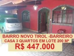 Vendo casa no bairro Novo Tirol Barreiro de Baixo