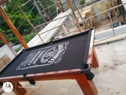 Mesa Madeira Semi Cor Imbuia Tecido Preto Logo Jack Daniels Mod. DOPQ3588