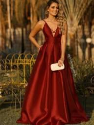 Vestido Longo Festa de Zimbeline Marsala com Cinto Chanel- Closet da May