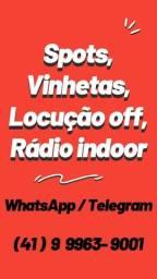 Áudio comercial, Vinhetas pra lojas, Locutor gravando spots