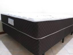 Título do anúncio: Perfeito estado! Conjunto Box Casal 138x188x65cm Molas Ensacadas Marrom - Ecoflex