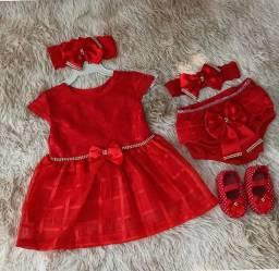 Vestido Para Bebê Renda Baby Kit 5 Pçs Luxo Vermelho