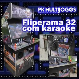 Fliperama 1.100 jogos arcades 32 pol com Karaoke 9.900 musicas