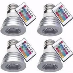 Kit 4 Lampadas Led 3w Dicroica Rgb Colorida Controle Remoto