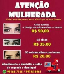 Promoção cilios tufinho+deing sombrancelha+renna 50$