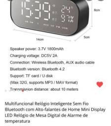 Rádio relógio Bluetooth recarregável MP3