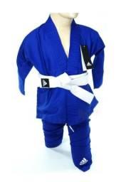 Kimono Adidas Judo LOGO azul c/ Faixa Gratis infantil
