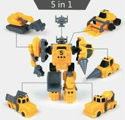 Robô de Brinquedo 5 em 1 Trator/Escavadeira/Betoneira/Tanque Pronta Entrega