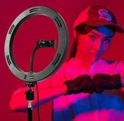 RING LIGHT LED COLORIDO 26CM / 10 POLEGADAS C/ TRIPÉ