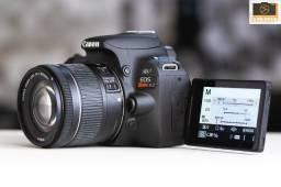 Título do anúncio: Câmera Dslr Canon Eos SL2 Seminova 3K Cliques + 18-55mm Stm