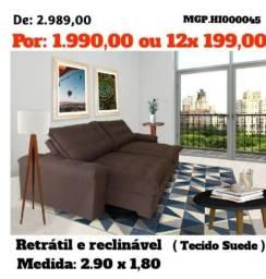 Título do anúncio: Sofa Retratil e Reclinavel 2,90 em Suede e Molas- Grande-Barato-Sala de Estar-Promoção MS