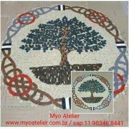 Arvore da vida, Arvore da Felicidade mosaico, piso mosaico, mandala piso