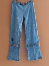 Calça leve azul, tecido artesanal cor azul, tamanho M, Marca Flor de Vênus