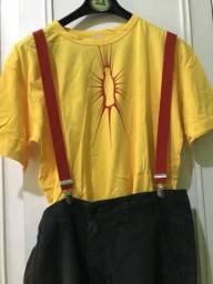 CARNAVAL-KIT Peruca Moicana+Camiseta amarela+suspensórios vermelhos+bermuda Element+óculos