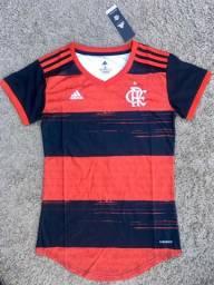 Camisa Flamengo I 20/21 Torcedor Adidas Feminina - Preto e Vermelho