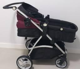 Carrinho com bebê conforto acompanha base - 1 ano de uso - Dzieco - Vinho