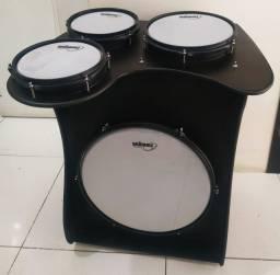 Cajon Bateria Extreme Drum Box 16' Jaguar Bumbo 16/Caixa 8/ Tom 8/ Tom 10