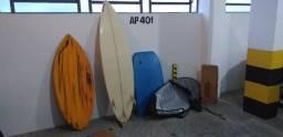 Prancha Skimboard, Surf, bodyboard e adaptador para transportar prancha na bicicleta