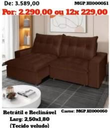 Título do anúncio: Sofa Retrátil e Reclinável em 2,50 em Veludo e Molas-Grande- Promoção em MS