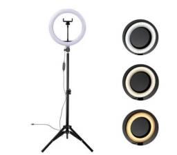 Título do anúncio: ring light iluminador 26cm completo 2,1 m tripé  210cm vd28