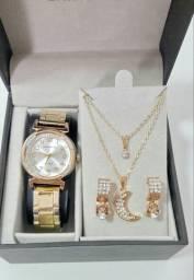 Kit relógio feminino Luxo
