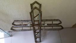 Antigo Crucifixo Armação Vitral Igreja Sacra Rara Vintage