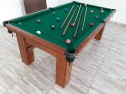 Mesa de Bilhar Maciça Cor Imbuia Tecido Verde Modelo IMD5987