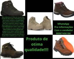 Bota Adventure/Trilha Em Couro Com Solado Em Borracha e Palmilha em Gel!!!