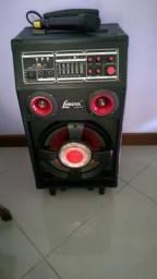 Caixa Amplificadora Lenoxx 130Wrms + microfone sem fio Semi nova