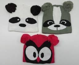 Touca Gorro Infantil Inverno Coruja Panda Guaxinim Criança