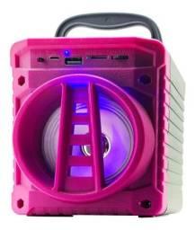Caixa De Som Portátil Com Bluetooth Rosa