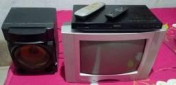 Tv cineral com caixa de som dvd Philips com controle tudo pegando perfeitamente