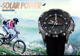 Relógio Solar Power Military LED Skmei 1064 Sports Watch dual time NOVO
