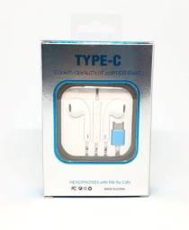 Fone de Ouvido Com Fio de 1,3m Entrada Tipo C e Microfone Novo na Caixa