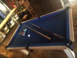 Mesa Tentação Carlin Bilhares Cor Cerejeira Tecido Azul Mod. UHUA6030