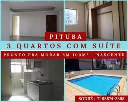 Pituba - 3 Quartos - Suíte - Nascente, Pronto pra Morar em 101m² - Excelente Localização