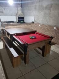 Título do anúncio: Mesa Tentação Tecido Vermelho de Bilhar e Jantar Mod. 332KR1MQ