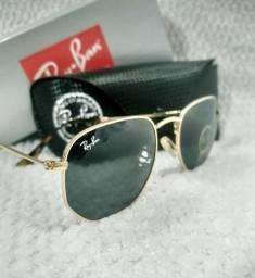 63b6da2f55398 Óculos de sol com lentes G-15 RB Hexagonal e armação dourada