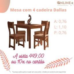 Mesa com 4 cadeiras na promoção