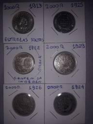 Lote de 6 moedas reis prata República